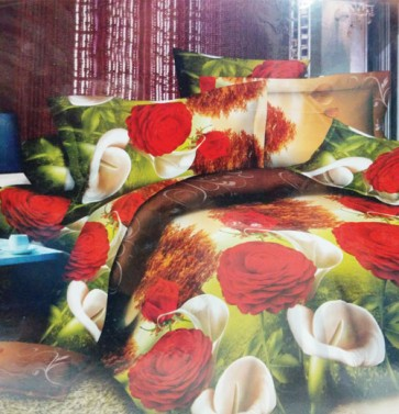 Red Roses 3D Print Bed Sheet for Double Bed
