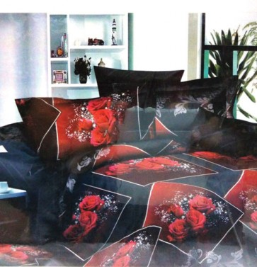 Red Roses 3D Bed Sheet for Double Bed