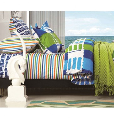 Blue Green Stripes Bed Sheets