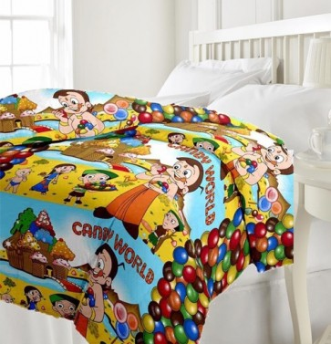 Chota Bheem Candy World Kids Single Bed Reversible AC Blanket Quilt (Dohar)