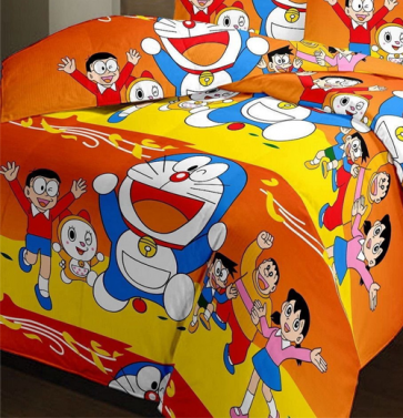Doraemon Printed Kids Single Bed Reversible Blanket Quilt (Dohar) - Red