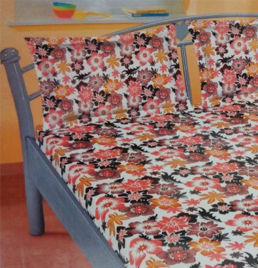 Blue & Orange Floral Cotton Double Bedsheet With 2 Pillow Cover