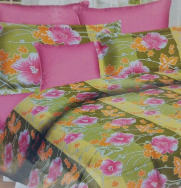 Green Floral Design Double Bed BedSheets
