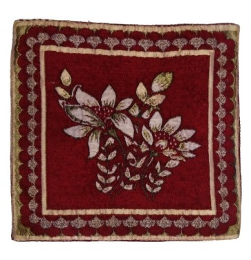 maroon golden flowers cushion cover 12x12 Inches