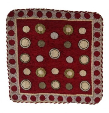 maroon polka dot cushion cover 12x12 inches