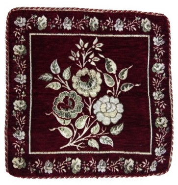 maroon with flowers border cushion cover