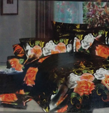 Orange Roses 3d Bed Sheets for Double Bed