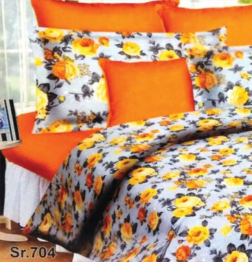 Orange Roses Floral  Double Bedsheet & 2 Pillow Covers