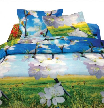 Perl-White Flowers Floral Designer Double Bed Bedsheet
