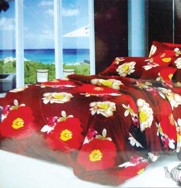Red Floral Double Bed Bedsheet