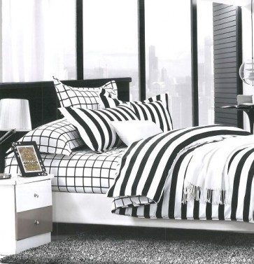 Stripes Black and White Cotton Double Bedsheet