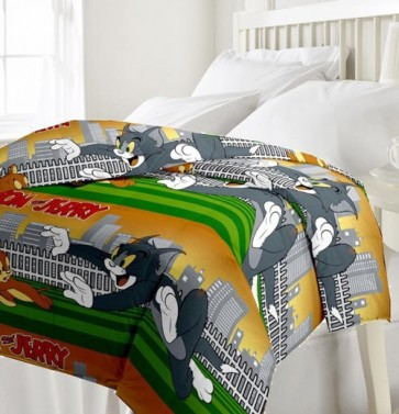 Tom and Jerry cartoon Print Dohar Single Bed Reversible Blanket Quilt