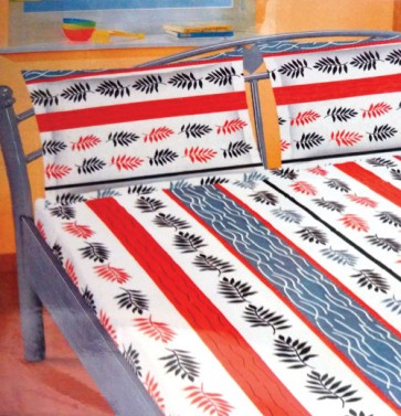 White Graey Red Cotton Double Bed Bedsheets