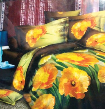 Yellow Flowers Floral Design Double Bed Bedsheet