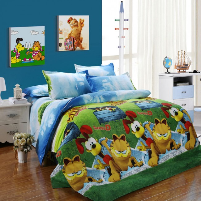 Shop Cartoon Garfield Pattern Cotton Bedspread Bed Sheets