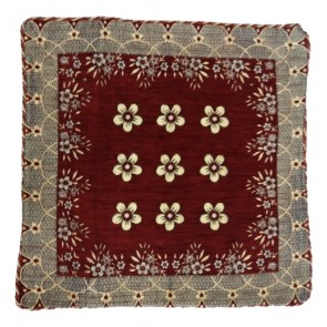 9 flowers designer maroon cushion cover