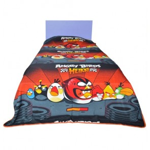 Red Angry Birds Kids Single Dohar - Double Side Printed Blanket Quilt  (Dohar)
