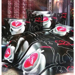 Black and Pink heart Double Bed Bedsheets