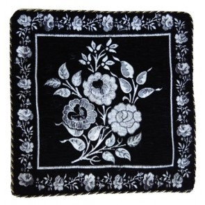 black silver flowers cushion covers