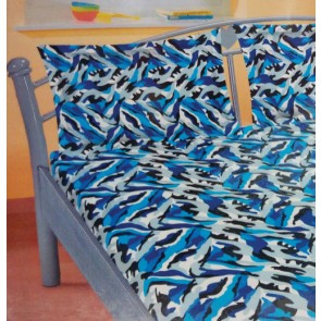 Blue Design Cotton Double Bed Bedsheet