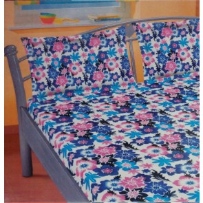 Blue & Pink Floral Cotton Double Bedsheet With 2 Pillow Cover
