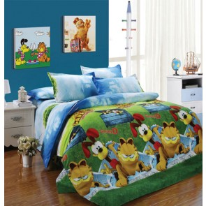 Cartoon Garfield pattern Cotton Bedspread Bed Sheets for Double Bed