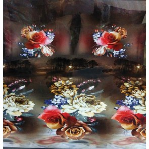 Dark Fantasy Roses Print Double Bed Bedsheet