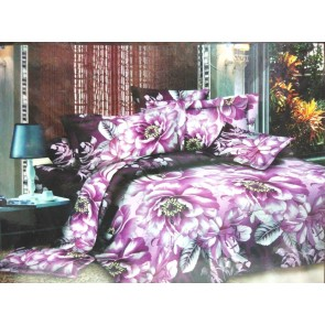 Purple Roses Floral Double Bed Bedsheets