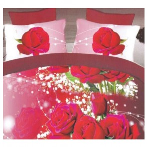 Dark Fantasy Love Roses Print Double Bed Bedsheet
