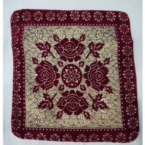 Maroon Floral Designer Cushion Cover