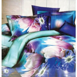 Dark Fantasy Night Blosam Flowers Double Bed Bedsheets