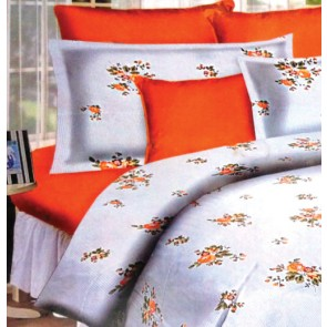 Orange Flowers White Double Bed Bedsheets
