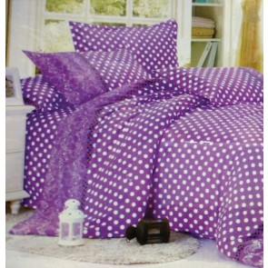 Polka Dots Purple Double Bedsheets