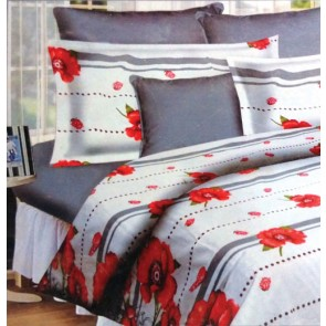 White Red Floral design Double Bed Bedsheet