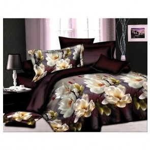 Dark Fantasy White Floral Double Bed Bedsheet