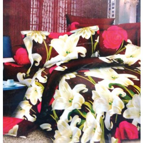 Lilies red roses 3d Bed Sheets for Double Bed