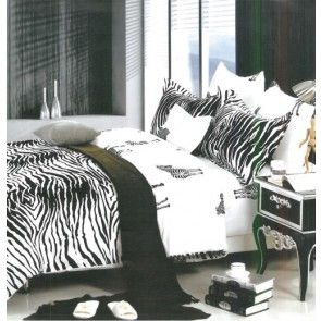 Black & White Zebra Print Bed Sheets, Shades Of Paradise